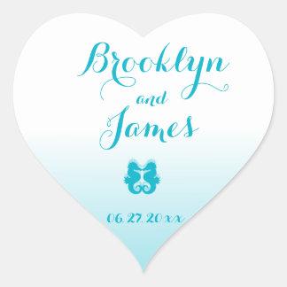 Custom Heart White Blue Seahorse Wedding Stickers