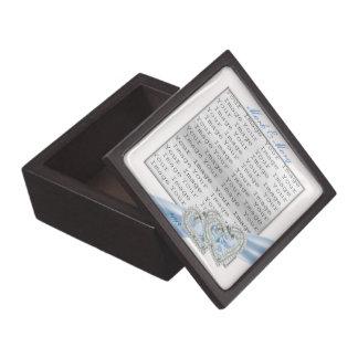 Custom Hearts Ice Blue Ribbon Keepsake Box