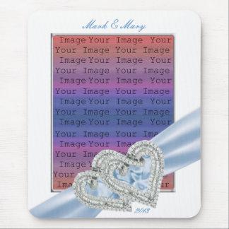 Custom Hearts Ice Blue Ribbon Mouse Pad