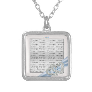 Custom Hearts Ice Blue Ribbon Necklace