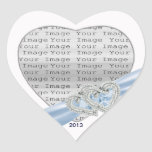 Custom Hearts Ice Blue Ribbon Stickers