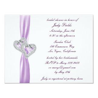"Custom Hearts Lavender Bridal Shower Invitations 4.25"" X 5.5"" Invitation Card"