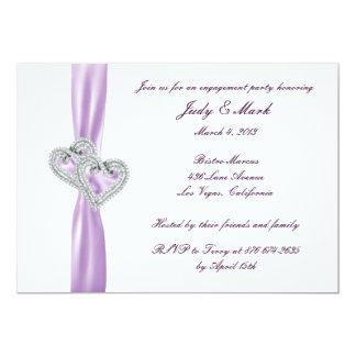 Custom Hearts Lavender Engagement Party Invitation