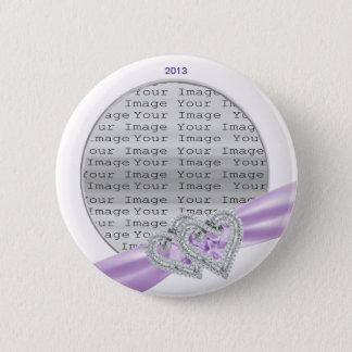 Custom Hearts Lavender Ribbon Button