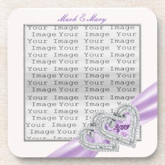 Custom Hearts Lavender Ribbon Coasters