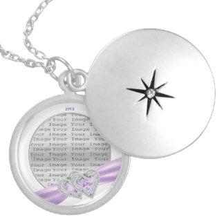 Custom Hearts Lavender Ribbon Locket