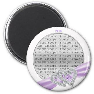 Custom Hearts Lavender Ribbon Magnet
