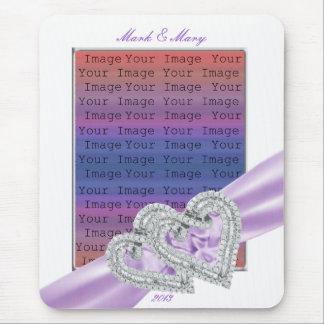 Custom Hearts Lavender Ribbon Mouse Pad