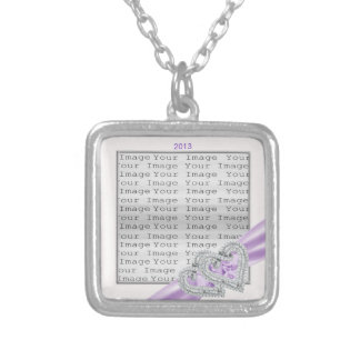 Custom Hearts Lavender Ribbon Necklace