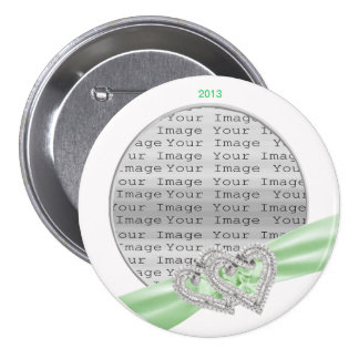 Custom Hearts Lime Ribbon Button