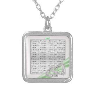 Custom Hearts Lime Ribbon Necklace