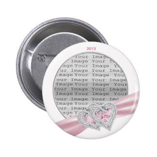 Custom Hearts Pastel Pink Ribbon Button