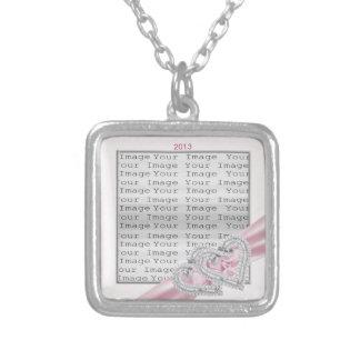 Custom Hearts Pink Ribbon Necklace