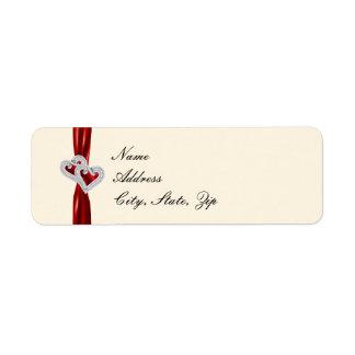Custom Hearts Red Ribbon Address Labels