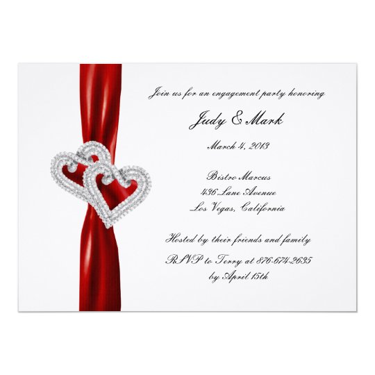 Custom Hearts Red Ribbon Engagement Party Invite