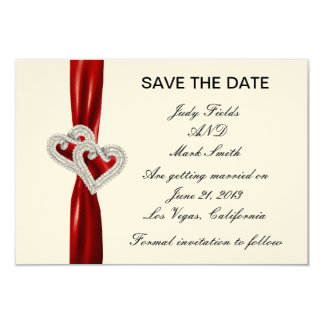 Custom Hearts Red Ribbon Save The Date Card