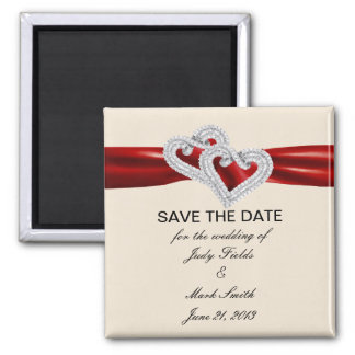 Custom Hearts Red Ribbon Save The Date Magnet