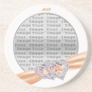 Custom Hearts Tangerine Ribbon Coaster