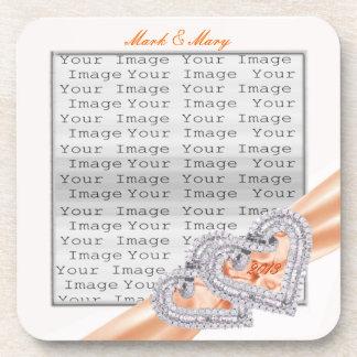 Custom Hearts Tangerine Ribbon Coasters