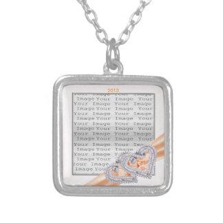 Custom Hearts Tangerine Ribbon Necklace