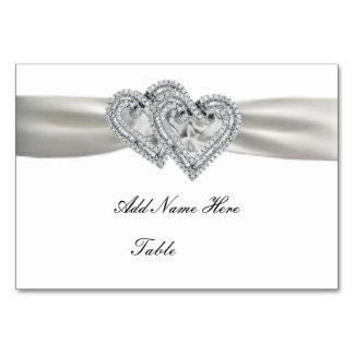 Custom Hearts White Wedding Place Card Table Cards