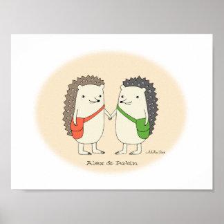 Custom Hedgehog Couple Art Personalized Wall Decor