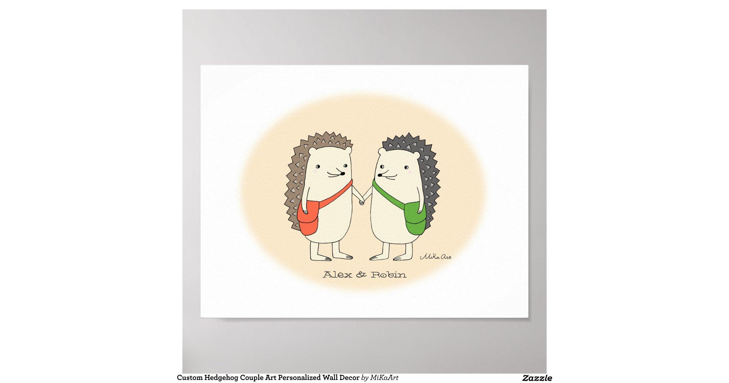 Custom hedgehog couple art personalized wall decor poster for Custom wall art