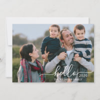 Custom Hello 2 Photo Message Script Happy New Year Holiday Card