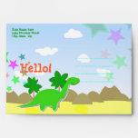 Custom Hello Cartoon Dinosaur Kids Envelopes