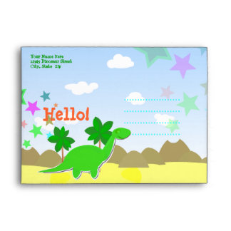 Custom Hello Cartoon Dinosaur Kids Envelopes