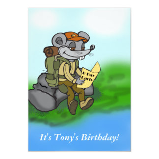 Custom Hiking Mouse Birthday Party Invitation