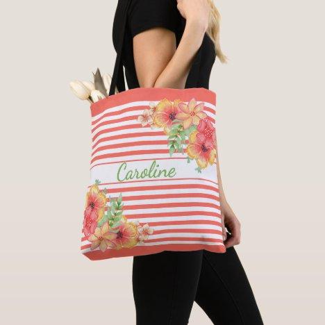 Custom Hip Cute Floral Watercolor Stripes Pattern Tote Bag