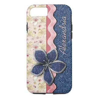 Custom Hip Denim Jeans Cute Pastel Floral Pattern iPhone 8/7 Case