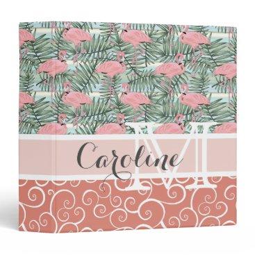 Beach Themed Custom Hip Pink Flamingoes Cute Palm Leafs Pattern 3 Ring Binder