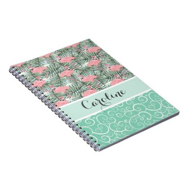 Beach Themed Custom Hip Pink Flamingoes Cute Palm Leafs Pattern Notebook