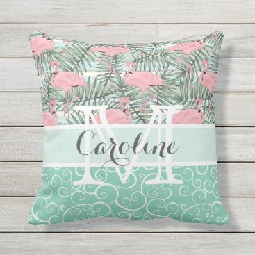 Beach Themed Custom Hip Pink Flamingoes Cute Palm Leafs Pattern Outdoor Pillow