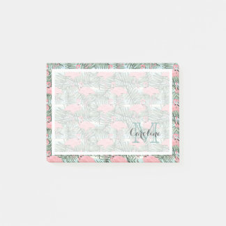 Custom Hip Pink Flamingoes Cute Palm Leafs Pattern Post-it Notes