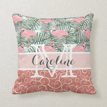 Beach Themed Custom Hip Pink Flamingoes Cute Palm Leafs Pattern Throw Pillow
