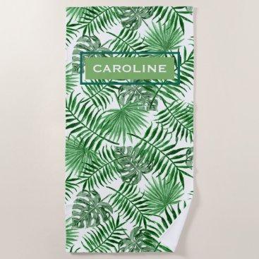 Beach Themed Custom Hip Retro Tropical Green Palm Leafs Pattern Beach Towel