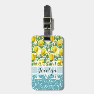 Custom Hip Tropical Summer Lemons Fruit Pattern Luggage Tag