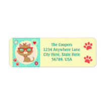 Custom Hipster Cat  Return Address Labels