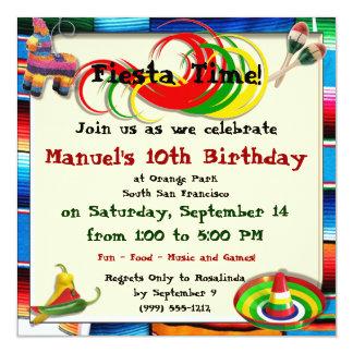 "Custom Hispanic Birthday Party Invitations 5.25"" Square Invitation Card"