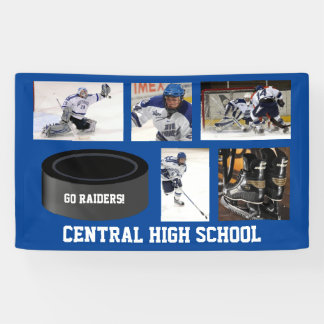 Custom Hockey Photo Collage Team Name Your Text Banner