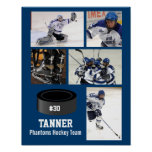 Custom Hockey Photo Collage Team Name Your Text Poster