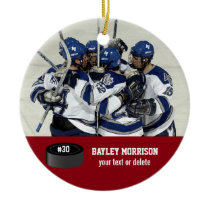 Custom Hockey Photo Player Name, Team & Number Ceramic Ornament