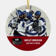 Custom Hockey Photo Player Name, Team & Number Ceramic Ornament at Zazzle