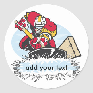 Custom Hockey Player Classic Round Sticker