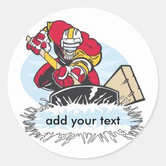 Custom Hockey Player Classic Round Sticker