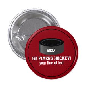 Custom Hockey Player Number Team Name Pinback Button
