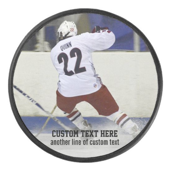 Custom Hockey Puck Add Photo Player, Team Name
